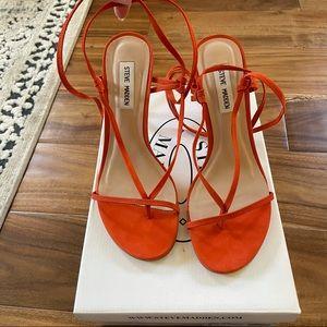 """Steven Madden """"Status"""" Sandal in Orange Nubuck"""